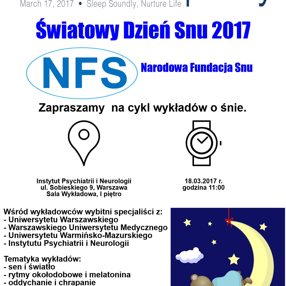 Światowy Dzień Snu 2017 zaproszenie wyklady
